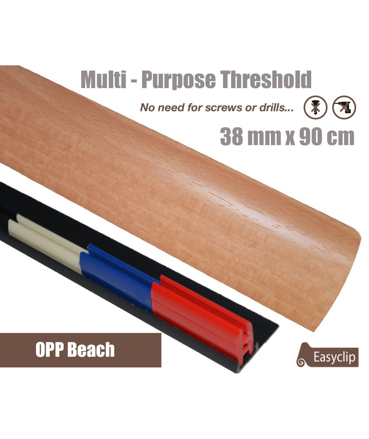 OPP Beech Laminated Transition Threshold Strip 38mm Multi-Height/Pivots 90cm