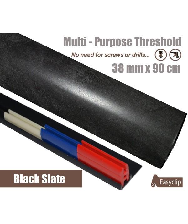 Black Slate Laminated Transition Threshold Strip 38mm Multi-Height/Pivots 90cm