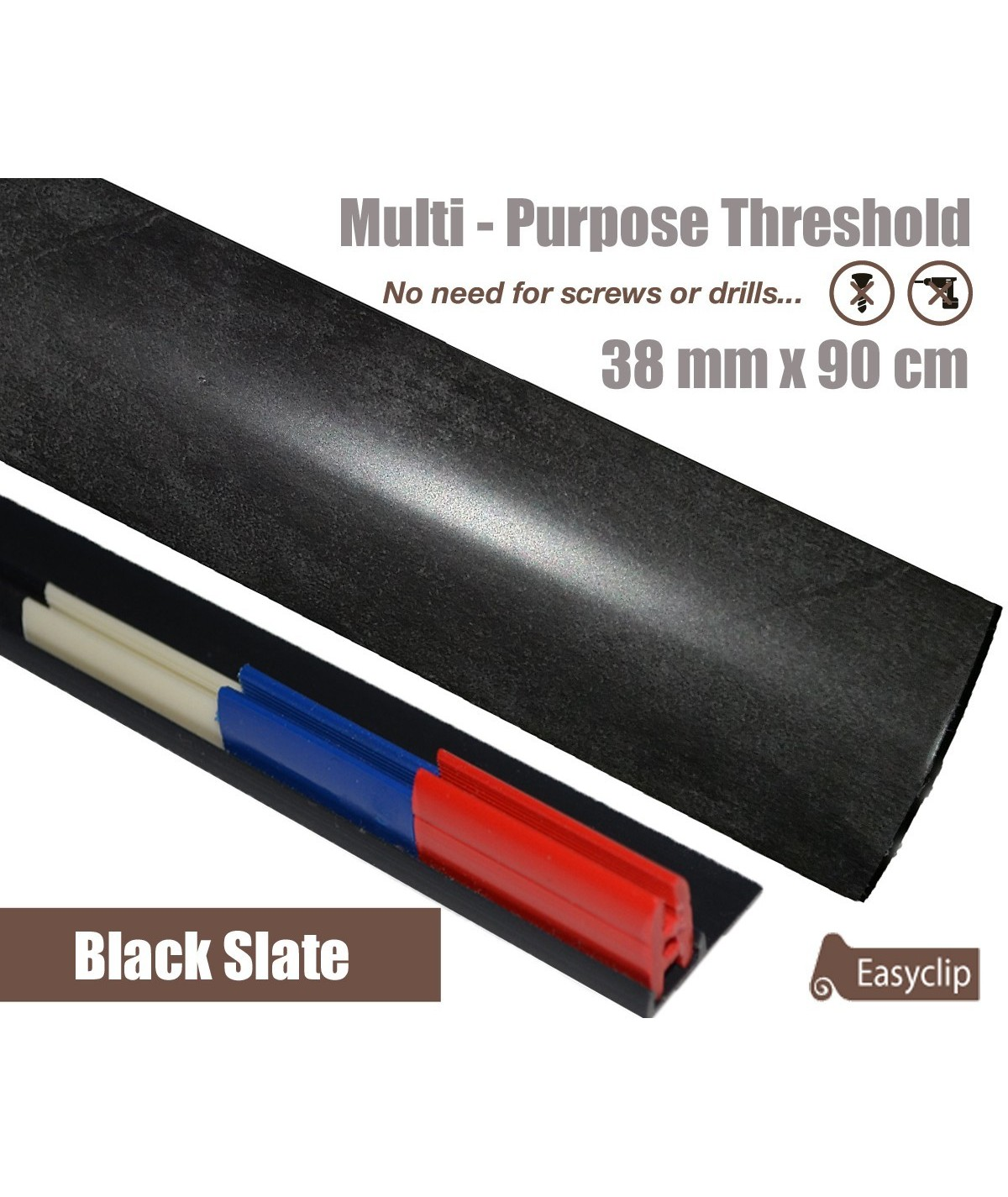 Black Slate Laminated Transition Threshold Strip 38mm Multi-Height/Pivots 90cm