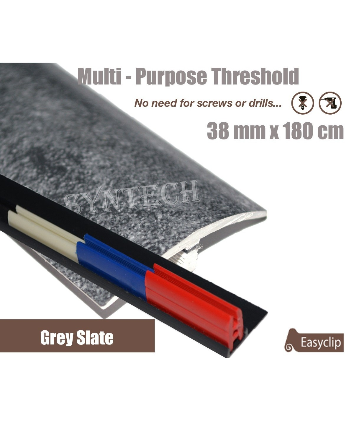 Grey Slate Threshold Strip 38mm x 180cm laminate multi Purpose Adhesive Clip System