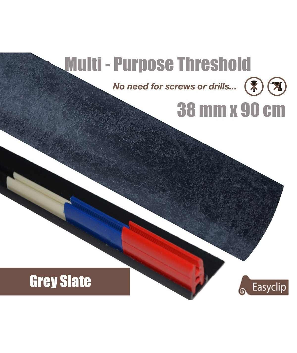 Grey Slate Laminated Transition Threshold Strip 38mm Multi-Height/Pivots 90cm
