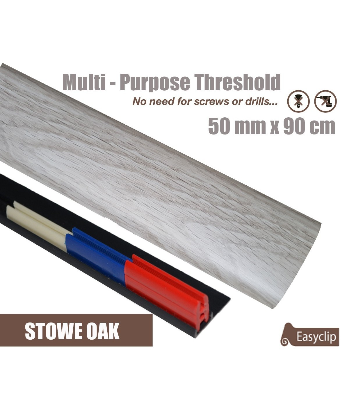 Stowe Oak Laminated Transition Threshold Strip  50mm x 90cm Multi-Height/Pivots