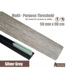 Silver Grey Laminated Transition Threshold Strip 50mm x 90cm Multi-Height/Pivots