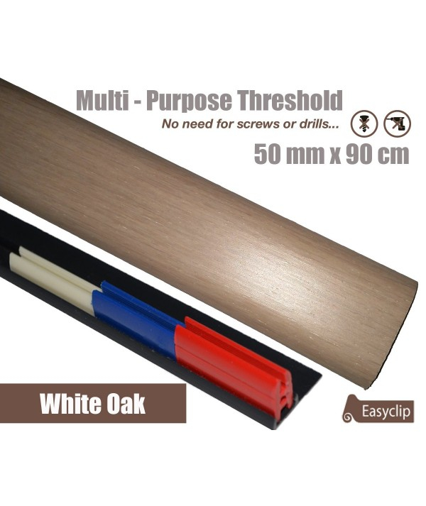 Cream Oak Laminated Transition Threshold Strip 50mm x 90cm Multi-Height/Pivots