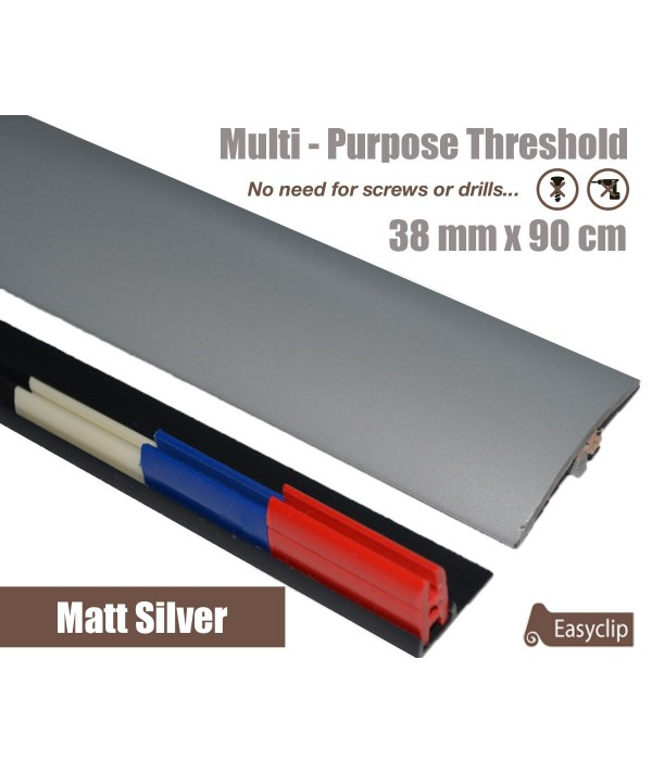 Matt Silver 38mm x 90cm Laminate Transition Threshold Strip Door Threshold Multi Purpose Easyclip Adhesive
