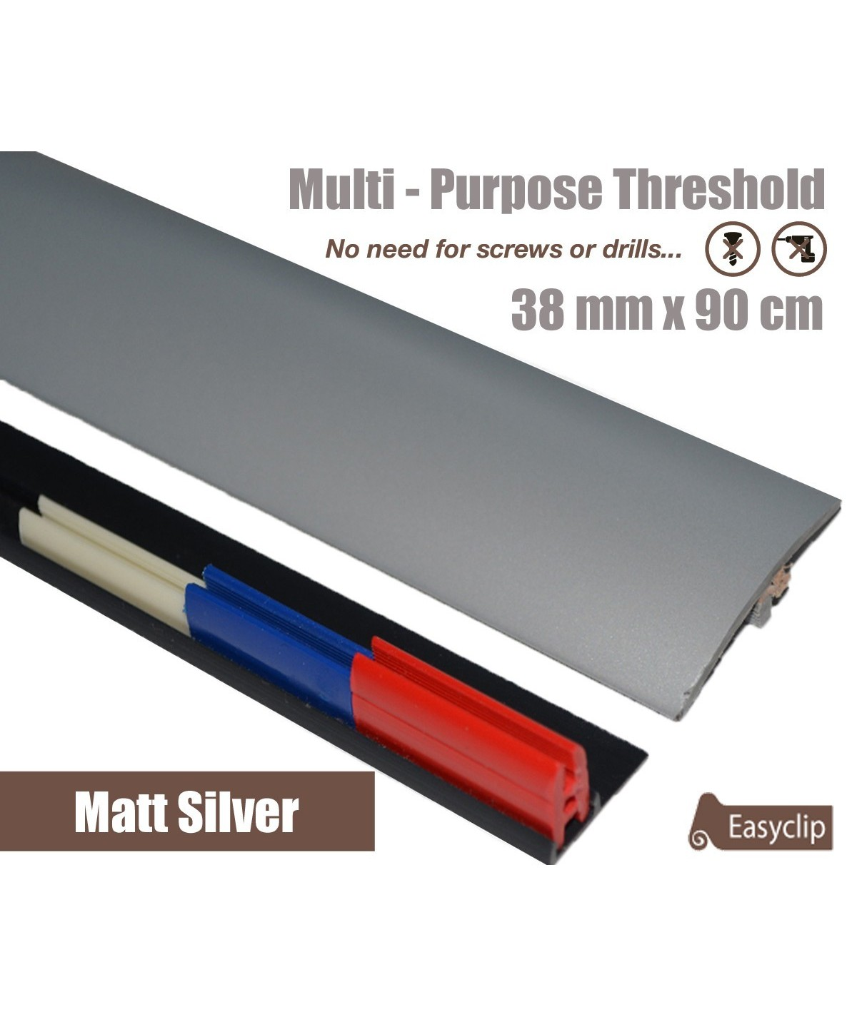 Matt Silver 38mm x 90cm Laminate Transition Threshold Strip Door Threshold Multi Purpose Easyclip Adhesive