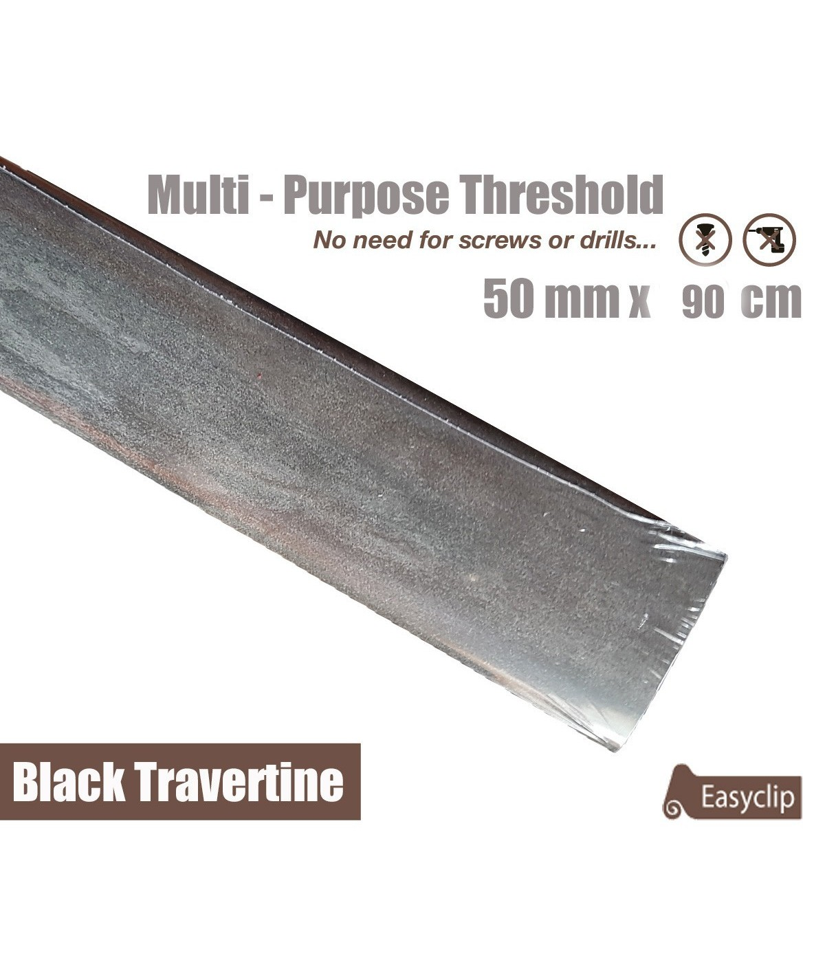 Black Travertine Laminated Transition Threshold Strip 50mm x 90cm Multi-Height/Pivots