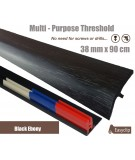 Black Ebomy Adhesive Laminate Door Threshold Strip 38mm x 90cm Multi-Height/Pivots