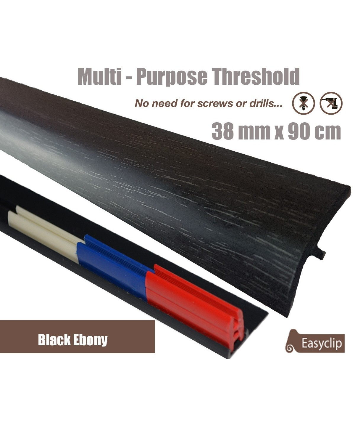 Black Ebomy Adhesive Laminate Door Threshold Strip 38mm x 90cm Multi-Height/Pivots