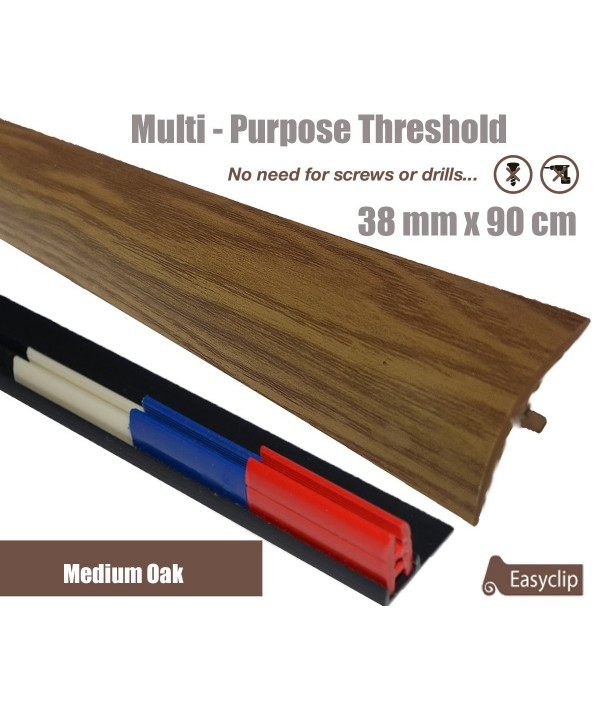 Medium Oak Adhesive Laminate Door Threshold Strip 38mm x 90cm Multi-Height/Pivots