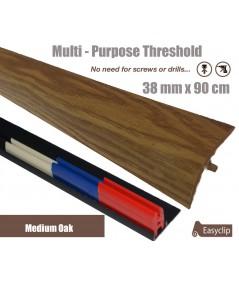 Medium Oak Adhesive Laminate Door Threshold Strip 38mm x 90cm Multi-Height/Pivots