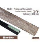 Silver Grey Laminated Transition Threshold Strip 50mm x180cm Multi-Height/Pivots