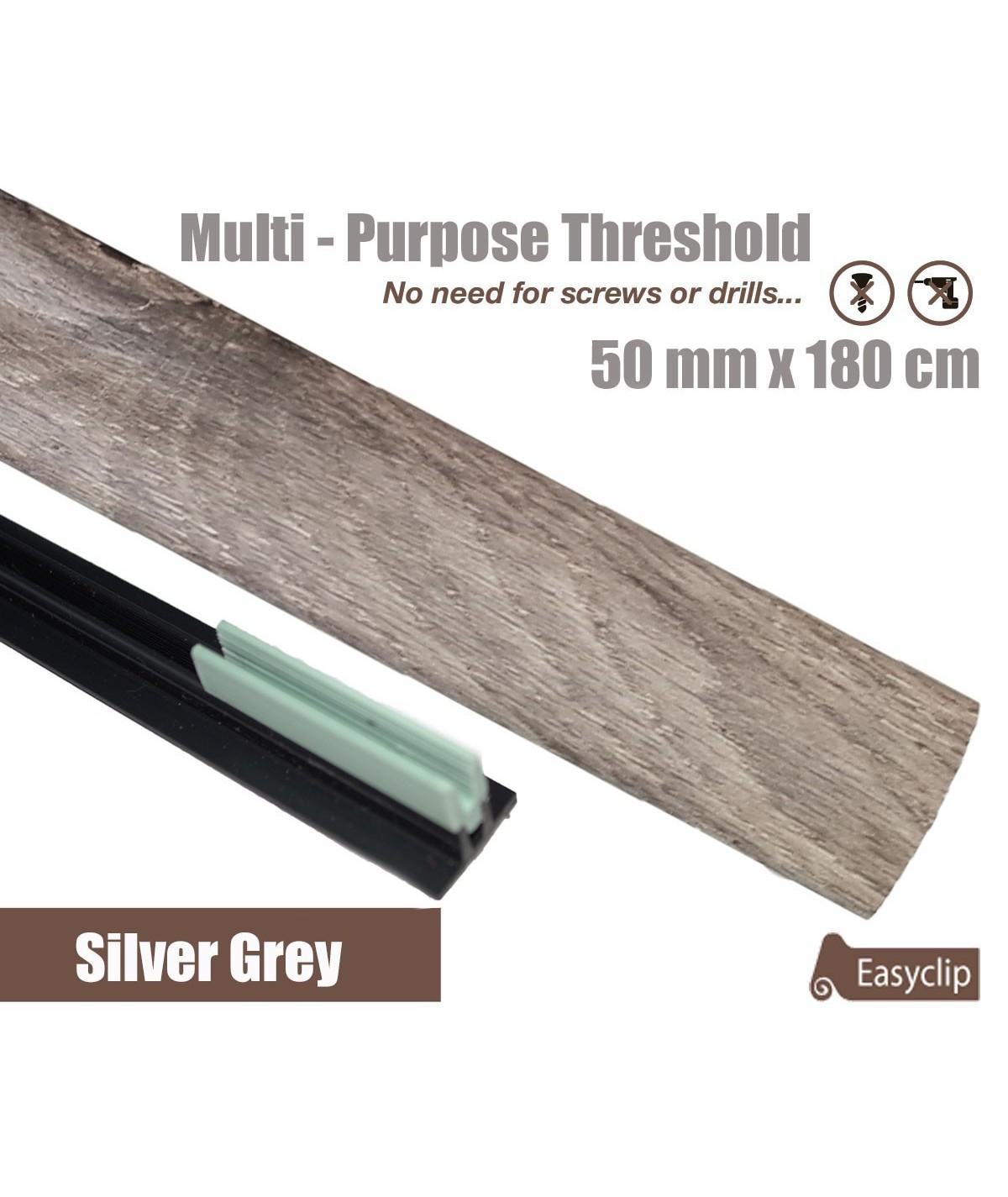 Silver Grey Laminated Transition Threshold Strip  50mm x180cm Multi-Height/Pivots
