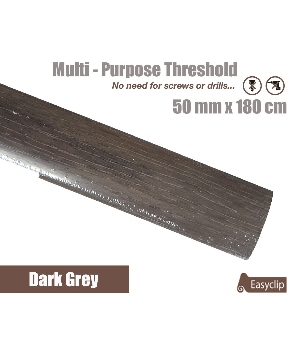 Dark Grey Laminated Transition Threshold Strip 50mm x180cm Multi-Height/Pivots