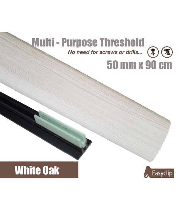 White Oak Laminated Transition Threshold Strip 50mm x 90cm Multi-Height/Pivots