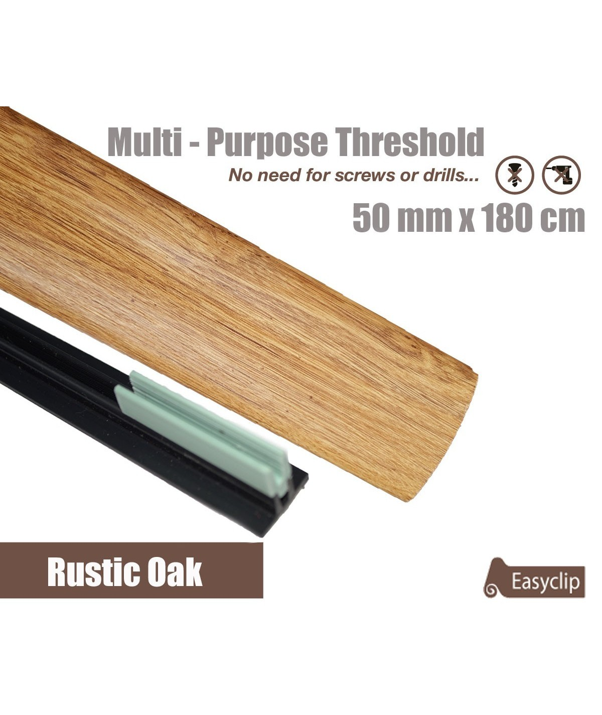 Rustic Oak Laminated Transition Threshold Strip  50mm x180cm Multi-Height/Pivots