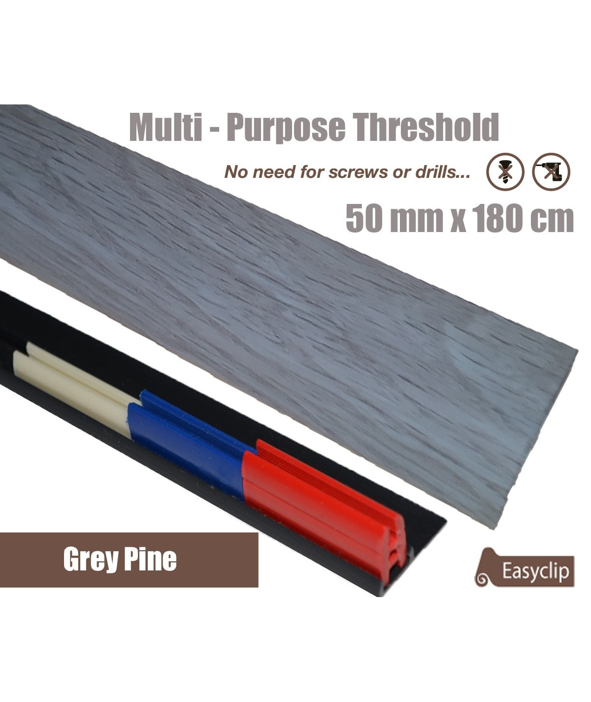 Grey Pine Laminated Transition Threshold Strip  50mm x180cm Multi-Height/Pivots