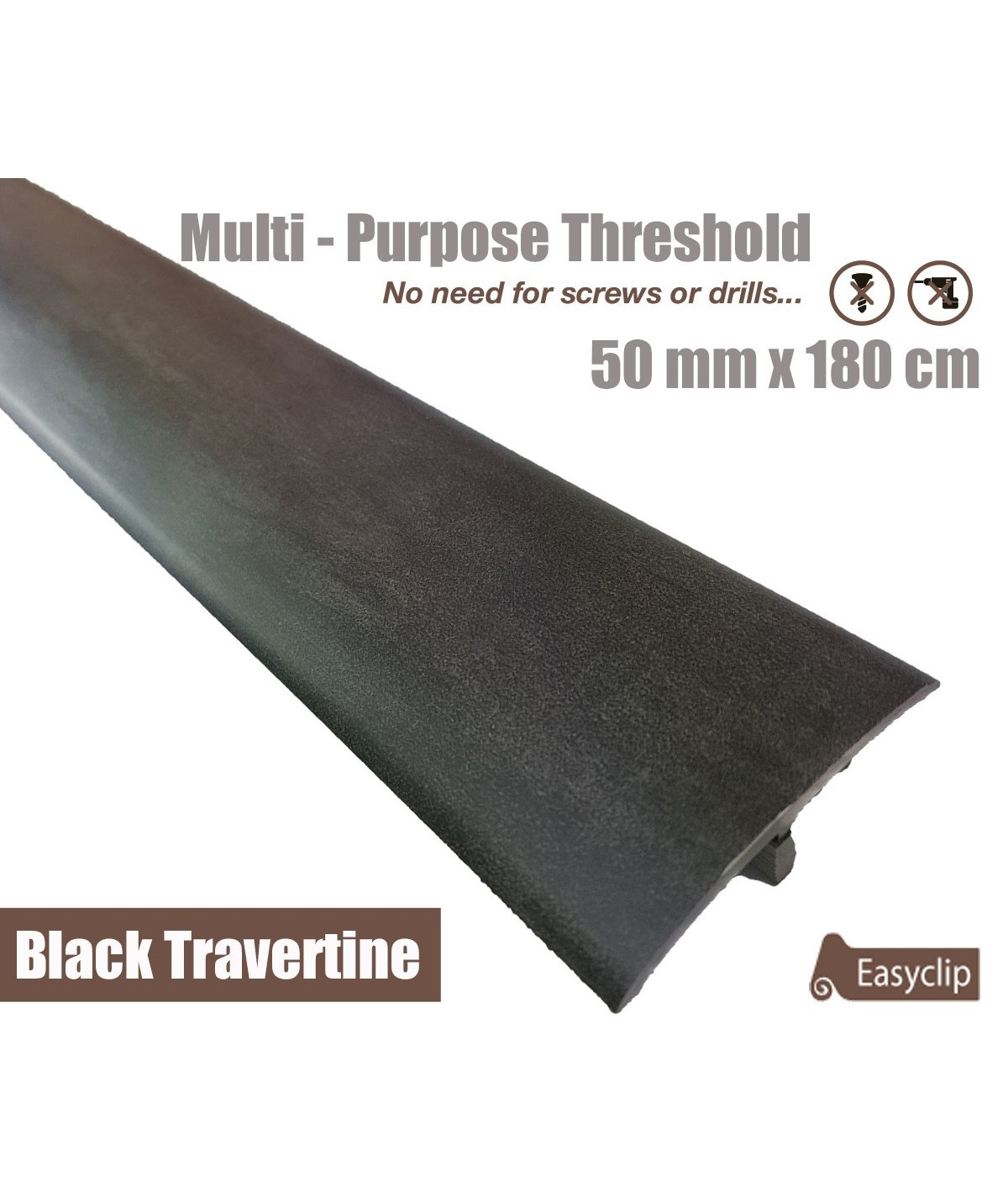 Black Travertine Laminated Transition Threshold Strip 50mm x180cm Multi-Height/Pivots