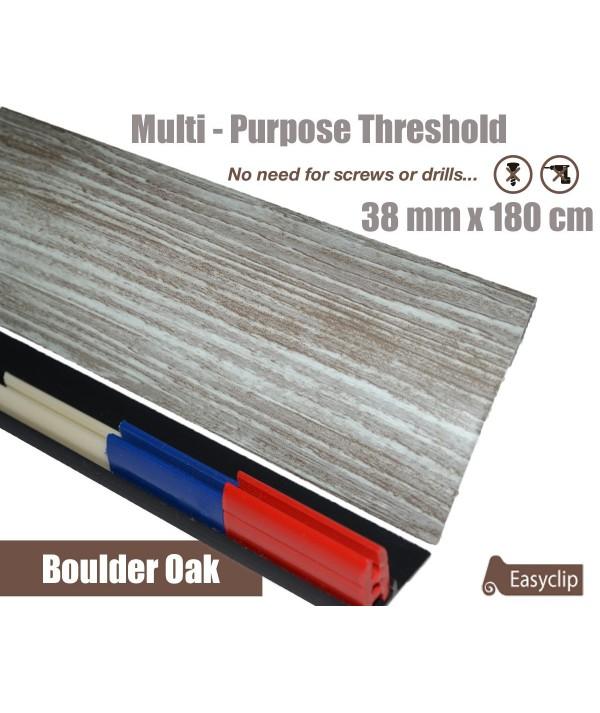 Boulder Oak Threshold Strip 38mm x 180cm laminate multi Purpose Adhesive Clip System