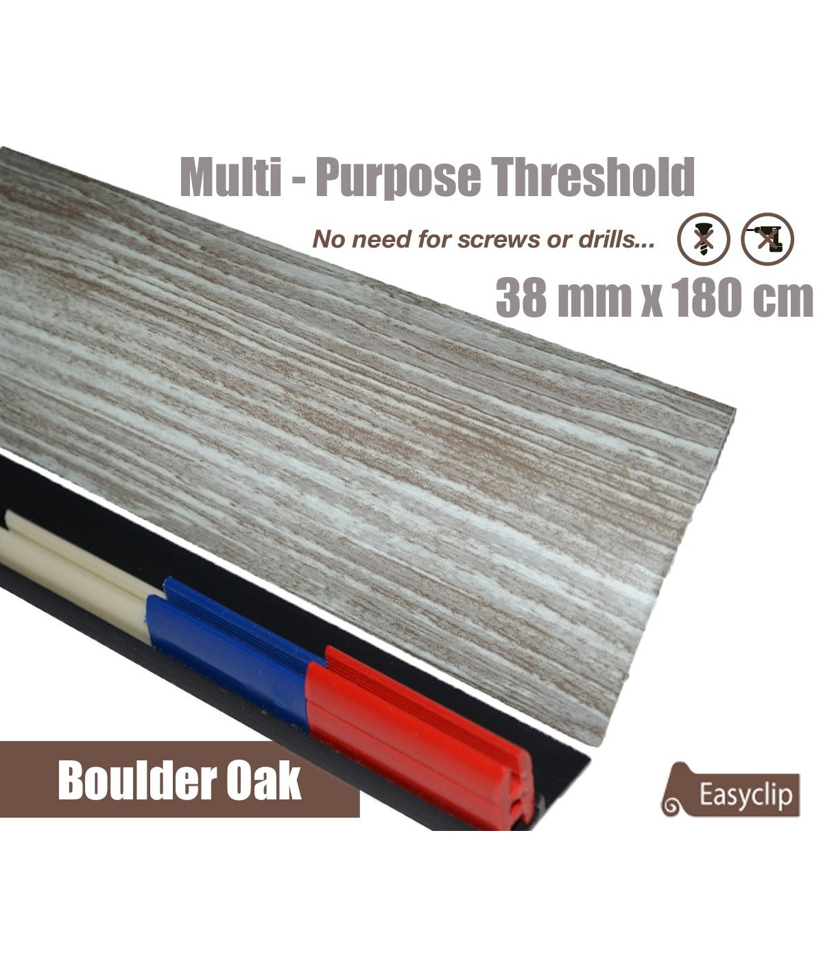 Boulder Oak Threshold Strip 38mm x 180cm laminate multi Purpose Adhesive Clip System