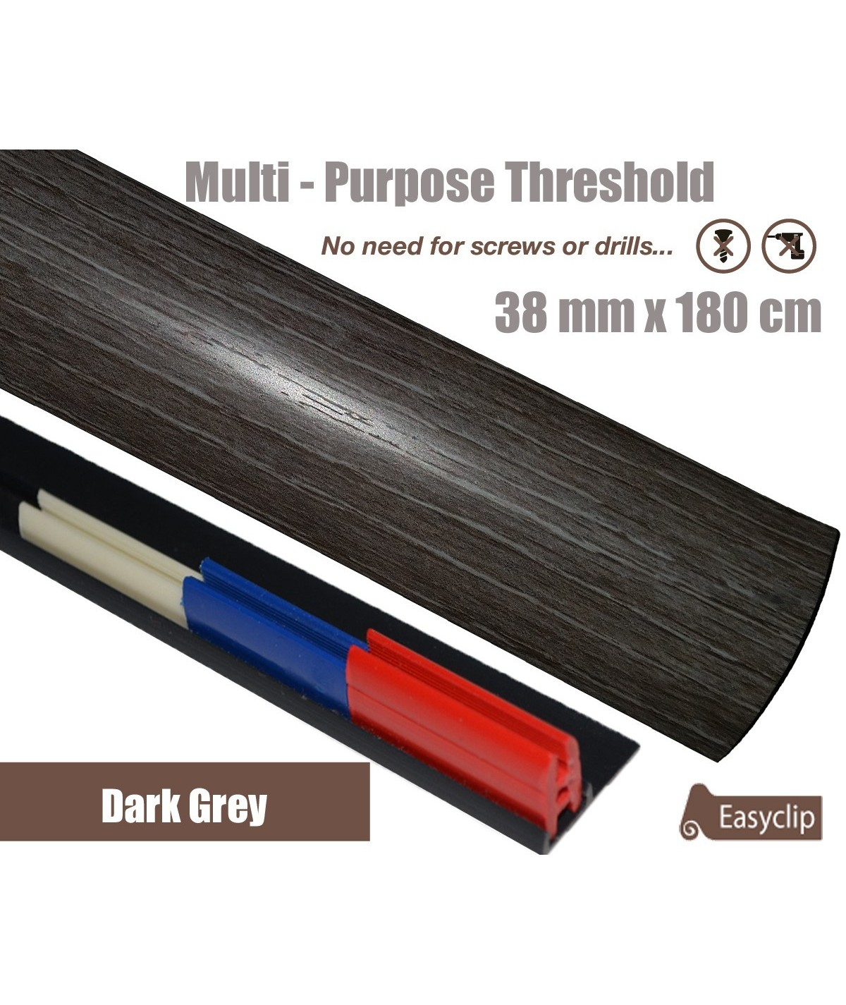 Dark Grey Threshold Strip 38mm x 180cm laminate multi Purpose Adhesive Clip System