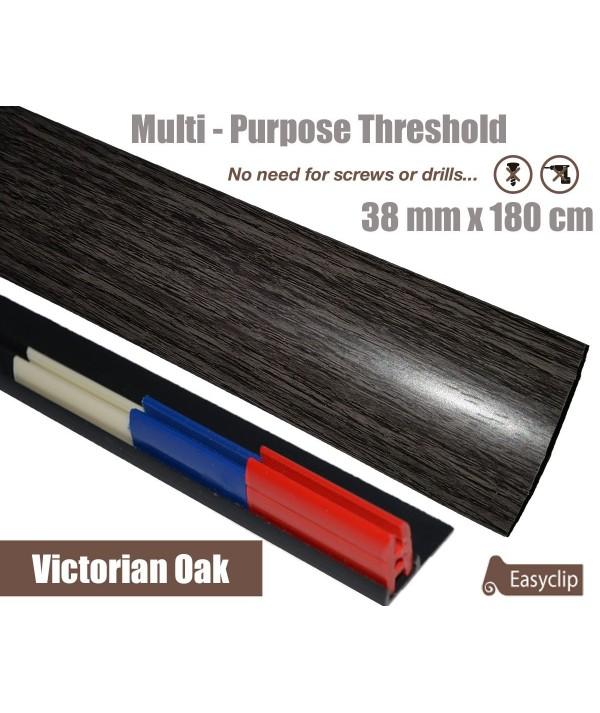 Victoria Oak Threshold Strip 38mm x 180cm laminate multi Purpose Adhesive Clip System