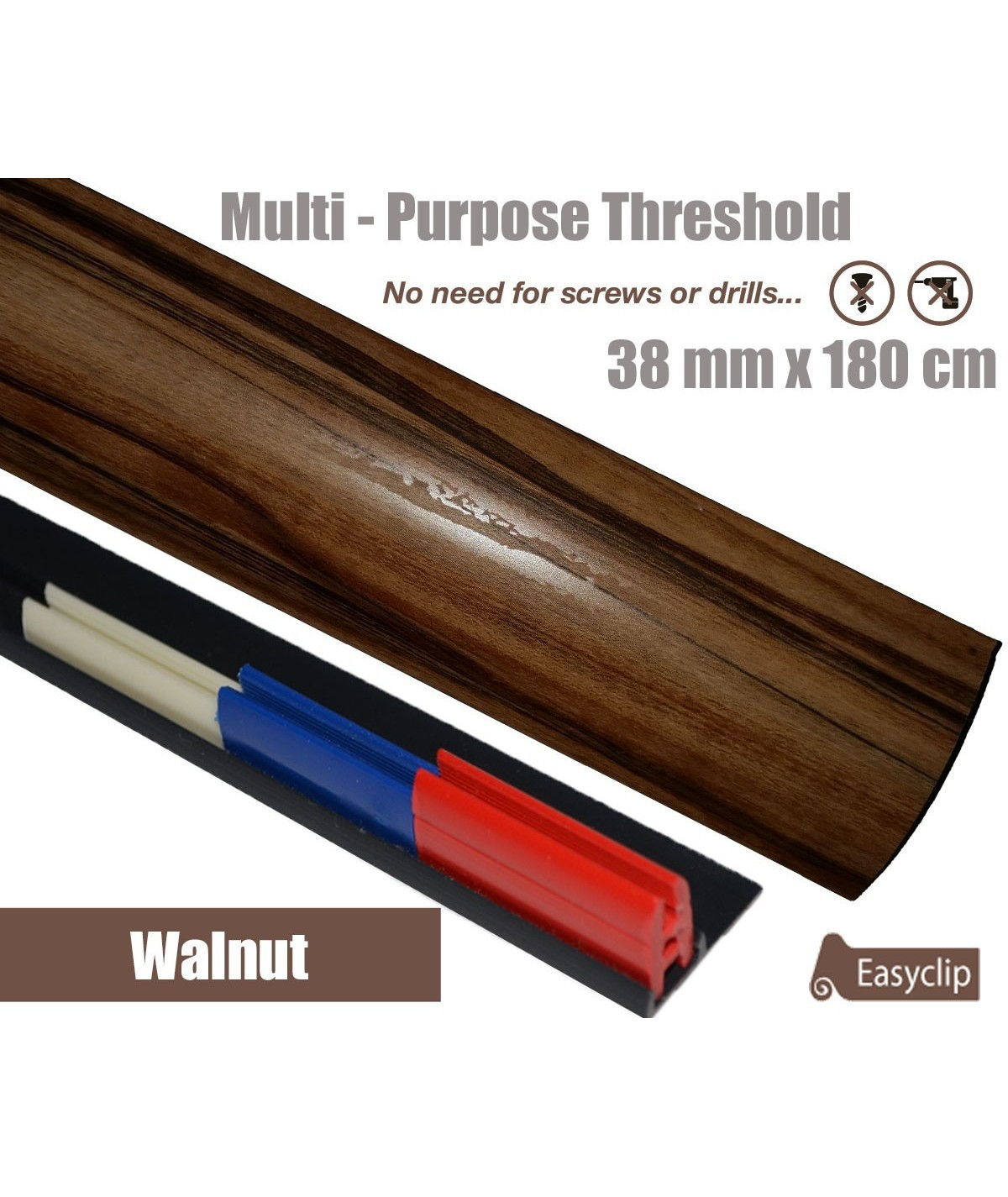 Walnut Threshold Strip 38mm x 180cm laminate multi Purpose Adhesive Clip System