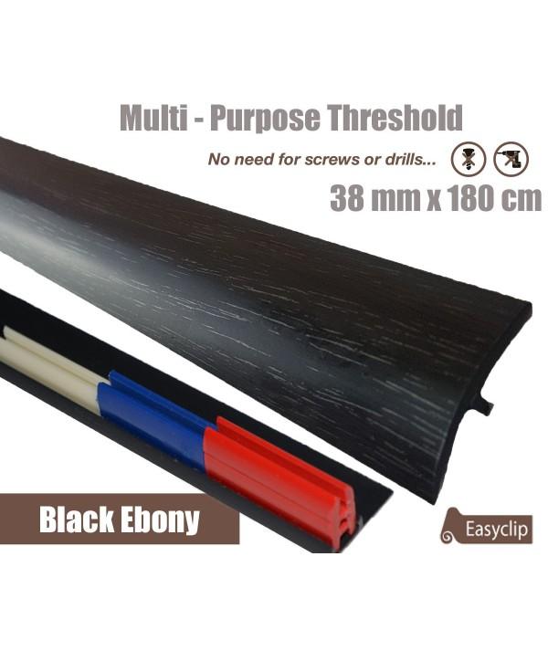 Black EbonyThreshold Strip 38mm x 180cm laminate multi Purpose Adhesive Clip System