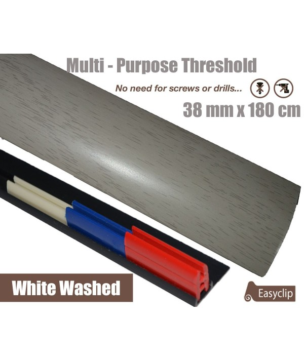 White Washed Oak Threshold Strip 38mm x 180cm laminate multi Purpose Adhesive Clip System