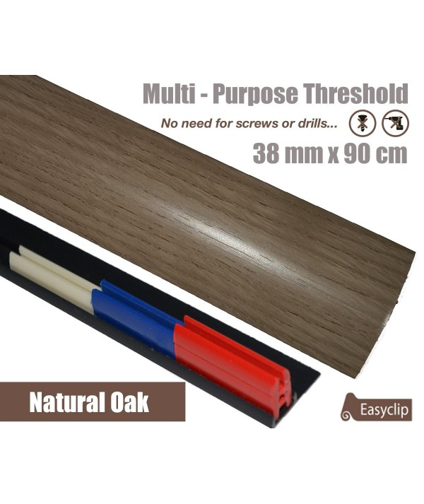Natural Oak Laminate Door Threshold Strip 38mm x 90cm Multi-Height/Pivots Adhesive