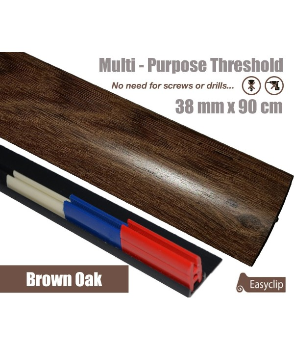 Brown Oak Laminate Transition Threshold Strip 38mm Multi-Height/Pivots 90cm