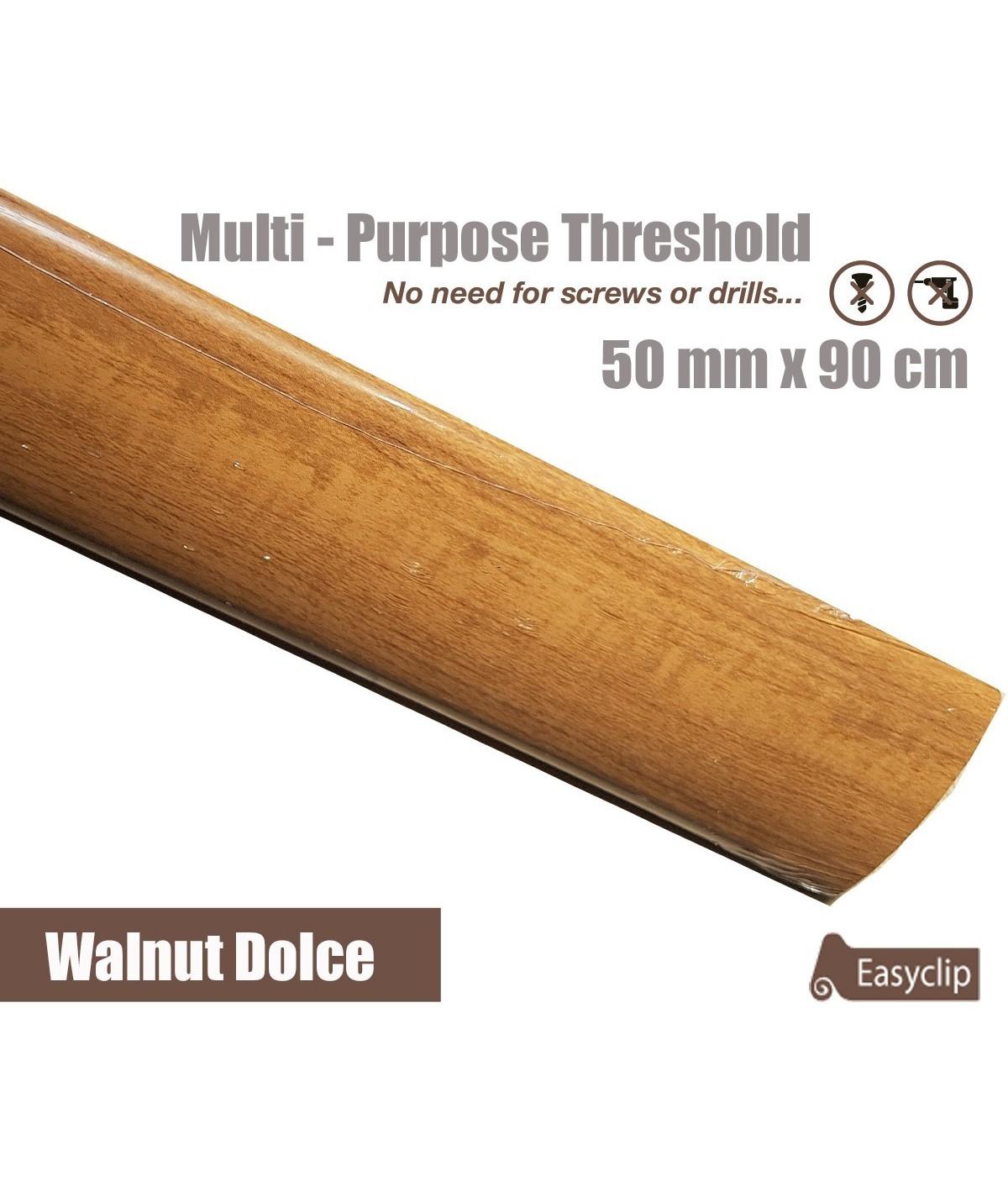 Walnut Dolce Transition Threshold Strip  50mm x 90cm Multi-Height/Pivots