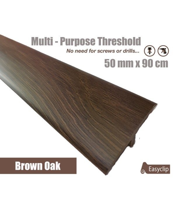 Brown Oak Laminated Transition Threshold Strip 50mm x 90cm Multi-Height/Pivots