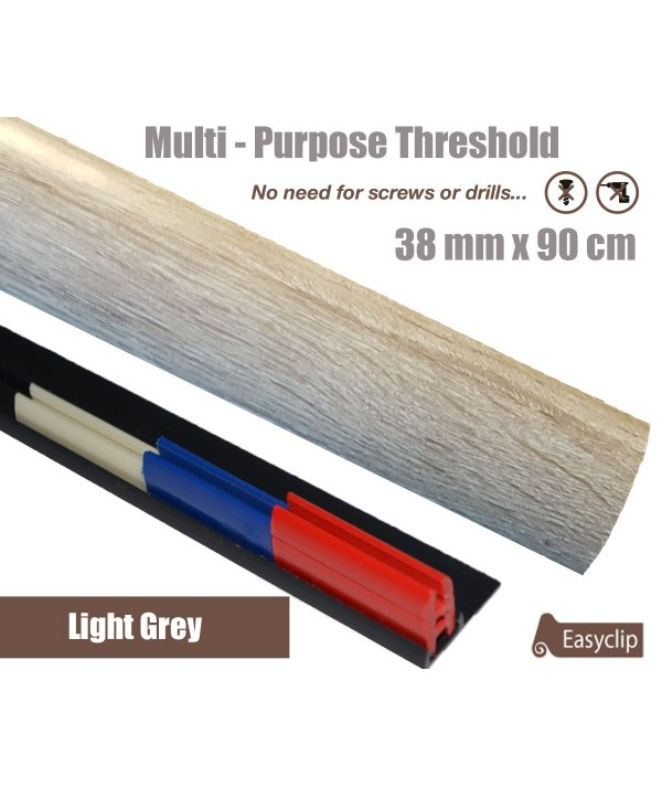 Light Grey  Laminate Transition Strip 38mm x 0.90mtr Multi-Height and Pivot