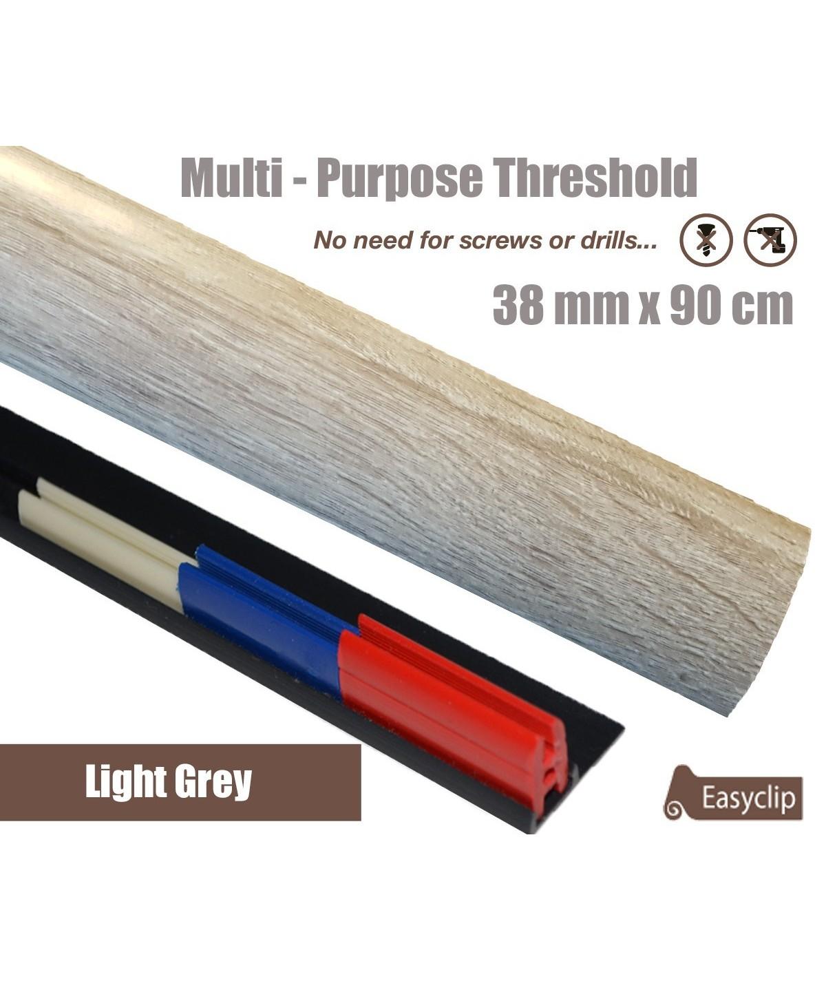Light Grey  Laminate Transition Strip 38mm x 0.90mtr Multi-Height and Pivot