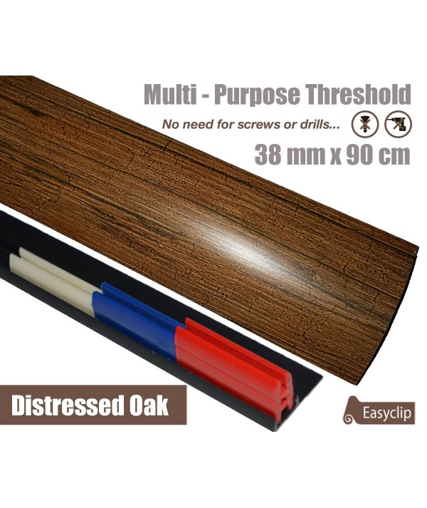 Distressed Oak Laminated Transition Threshold Strip 38mm Multi-Height/Pivots 90cm