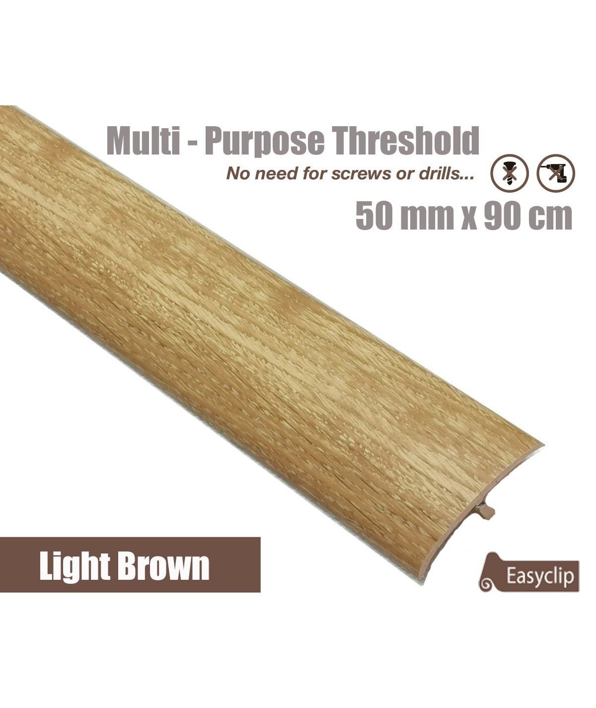 Light Brown Transition Threshold Strip 50mm x 90cm Multi-Height/Pivots Multi Floor