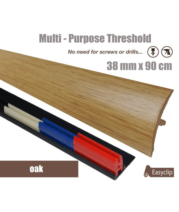 Oak Laminated Transition Threshold Strip 38mm Multi-Height/Pivots 90cm