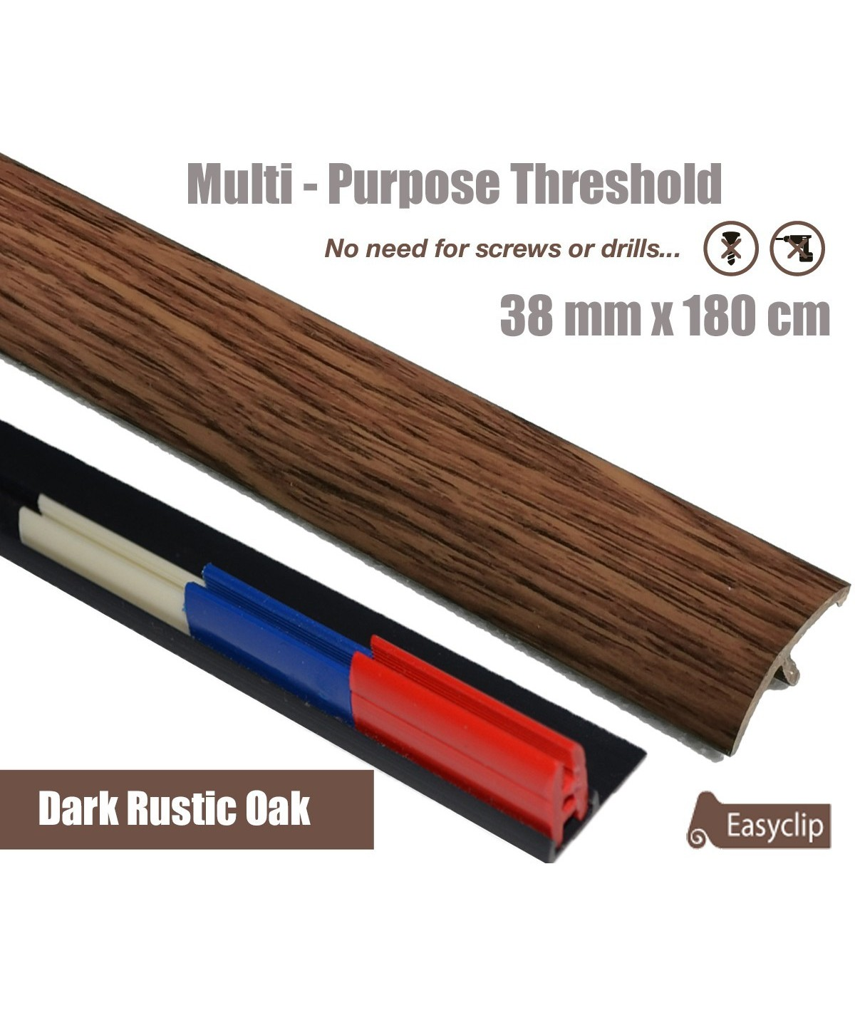 Dark Rustic Oak  Laminate Transition Strip 38mm x 0.90mtr Multi-Height and Pivot