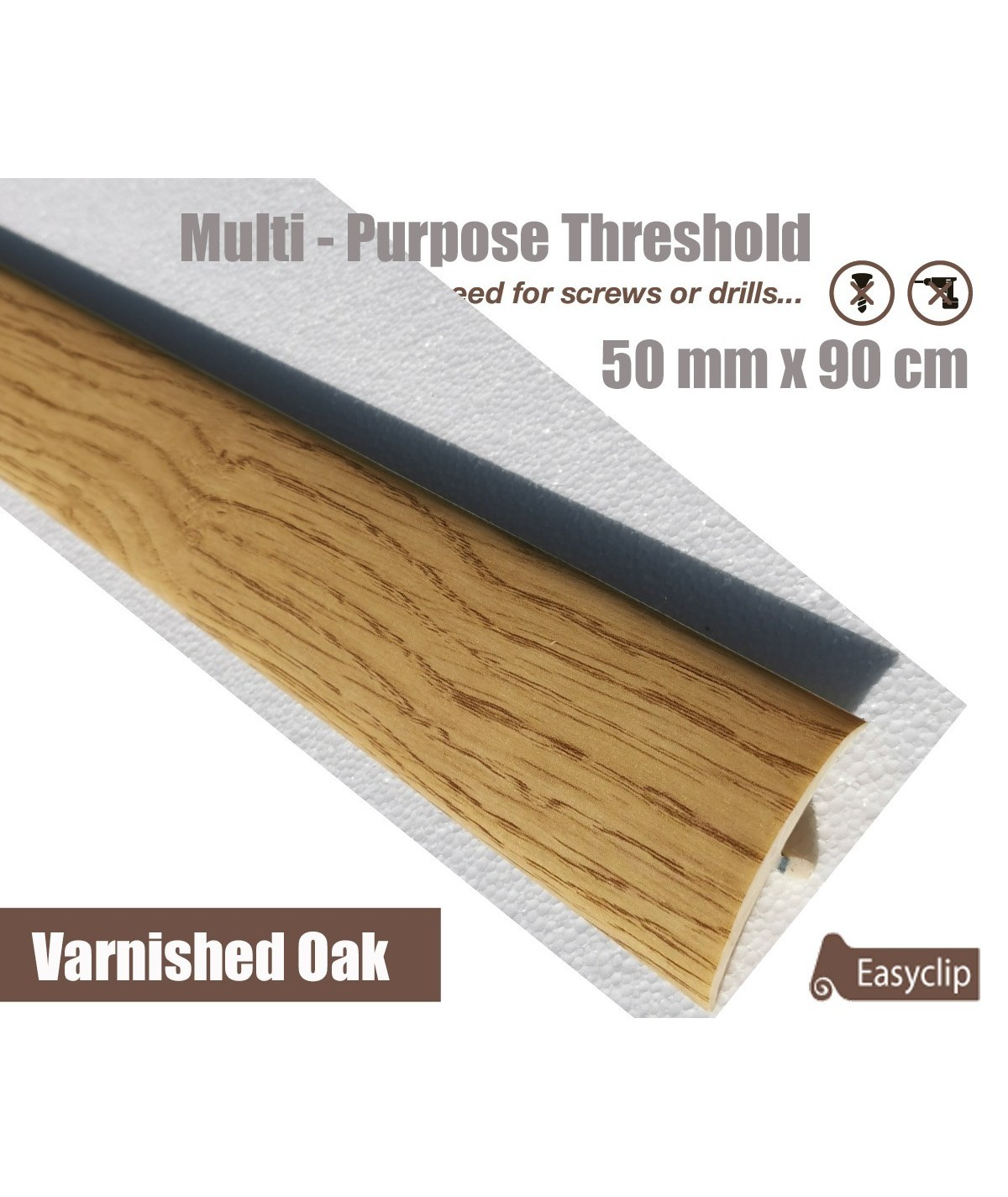 Varnished Oak Laminated Transition Threshold Strip 50mm x 90cm Multi-Height/Pivots