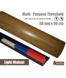 Light Walnut Laminated Door Threshold Strip 38mm x 90cm Multi-Height/Pivots Adhesive