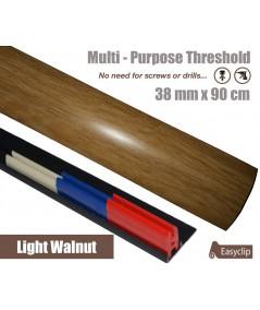 Light Walnut Laminated Door Threshold Strip 38mm x 90cm Multi-Height/Pivots Adhesive