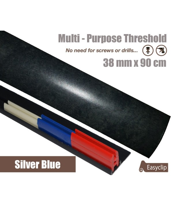 Silver Blue Laminated Transition Threshold Strip 38mm Multi-Height/Pivots 90cm