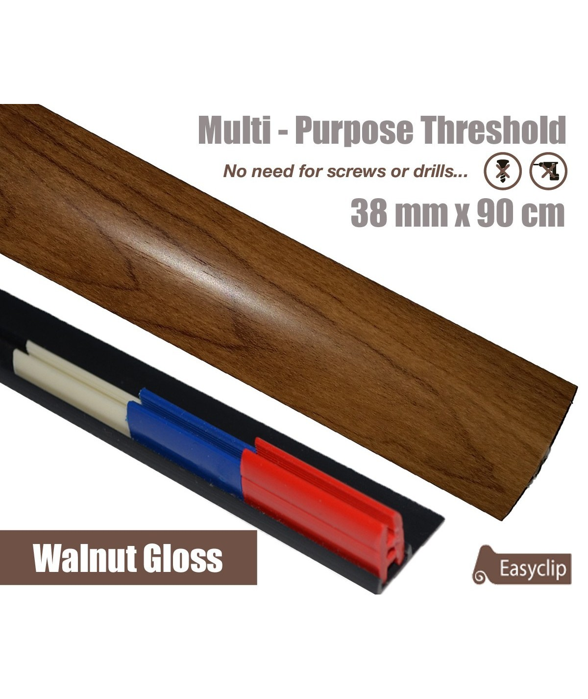 Walnut Gloss Laminated Transition Strip Threshold 38mm Pivots 90cm Multi-Purpose