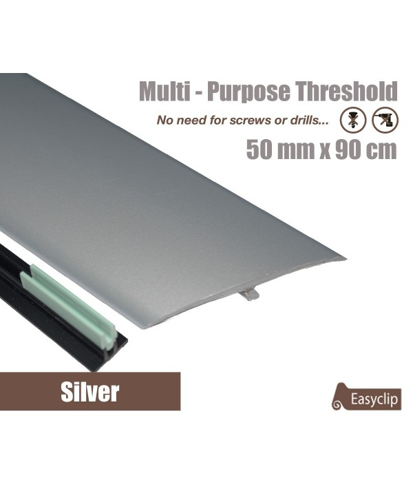 Silver Laminated Transition Threshold Strip  50mm x 90cm Multi-Height/Pivots