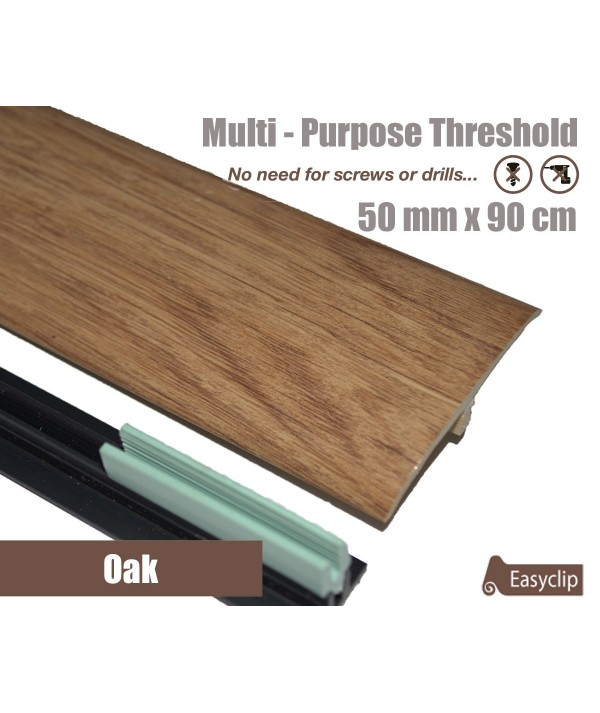 Oak Laminated Transition Threshold Strip  50mm x 90cm Multi-Height/Pivots