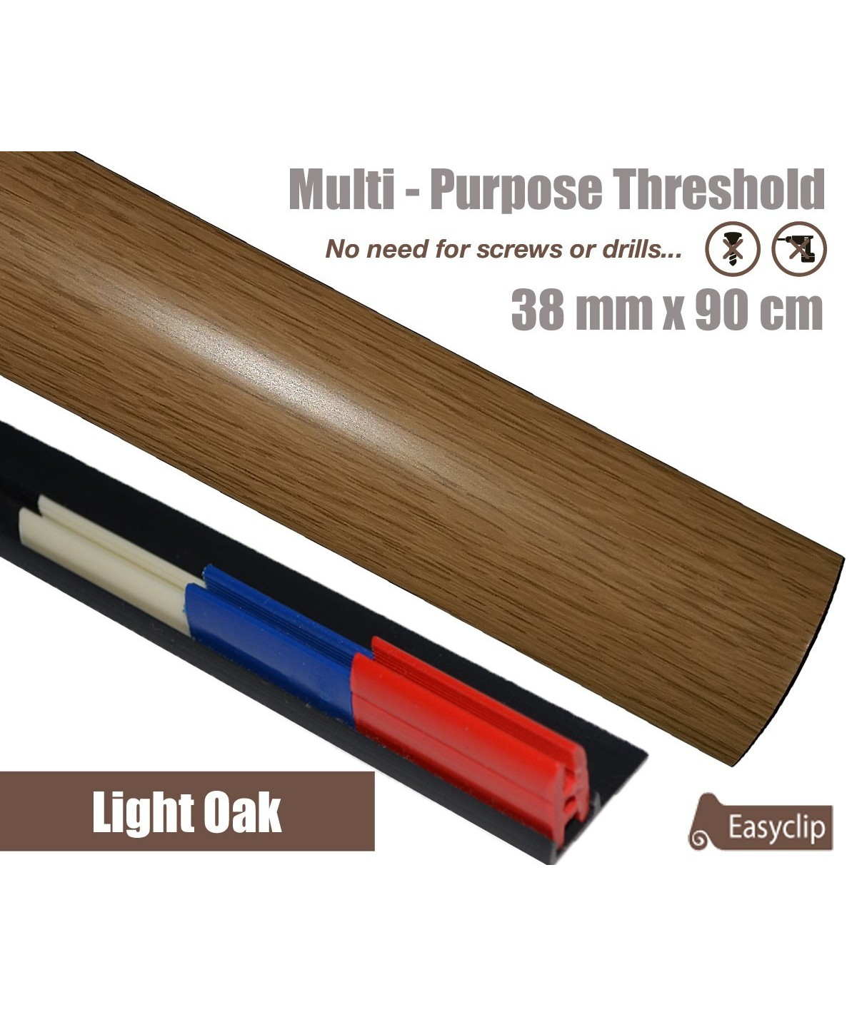 Light Oak Laminated Transition Strip Threshold 38mm Pivots 90cm Multi-Purpose