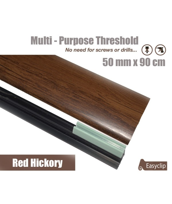 Red Hickory Laminated Transition Threshold Strip  50mm x 90cm Multi-Height/Pivots