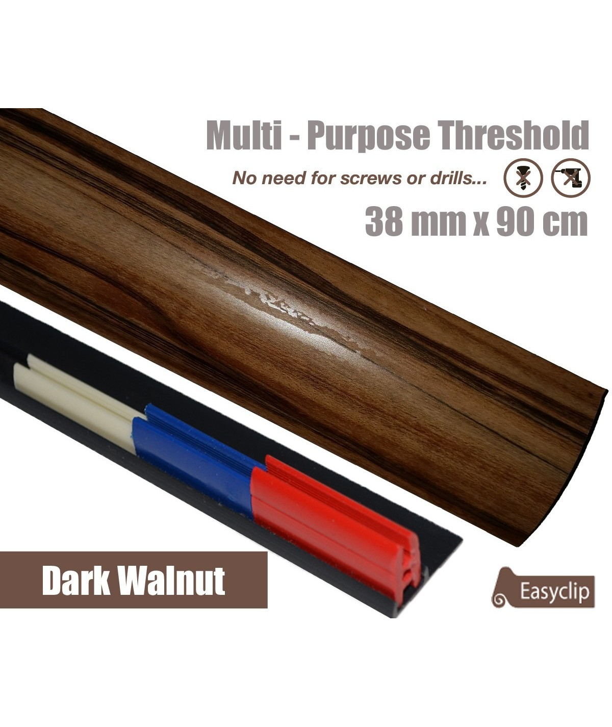 Walnut Adhesive Laminated Door Threshold Strip 38mm x 90cm Multi-Height/Pivots