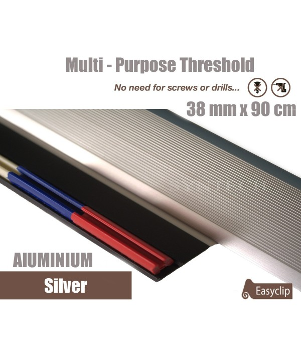 Silver 38mm x 90cm Aluminium Transition Threshold Strip Door Threshold Multi Purpose Easyclip Adhesive